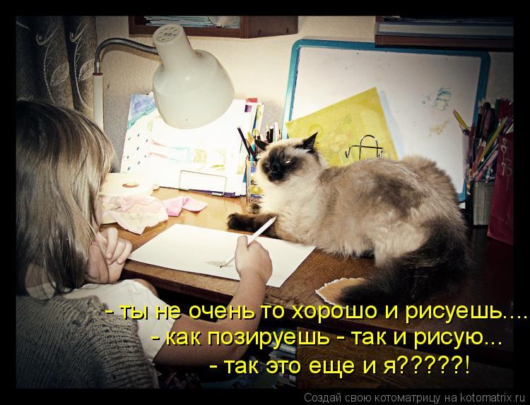 Котоматрица: - ты не очень то хорошо и рисуешь.... - как позируешь - так и рисую... - так это еще и я?????!