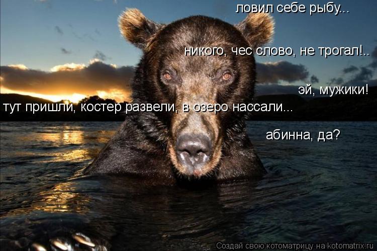 Котоматрица: ловил себе рыбу... никого, чес слово, не трогал!.. тут пришли, костер развели, в озеро нассали... абинна, да? эй, мужики!