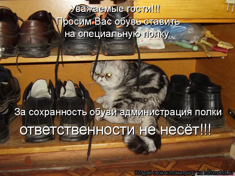 Котоматрица: Уважаемые гости!!! Просим Вас обувь ставить  на специальную полку. За сохранность обуви администрация полки ответственности не несёт!!!
