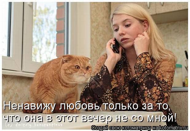 Котоматрица: Ненавижу любовь только за то,  что она в этот вечер не со мной!