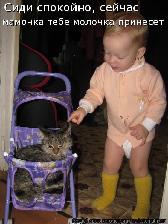 Котоматрица: Сиди спокойно, сейчас  Сиди спокойно, сейчас  мамочка тебе молочка принесет