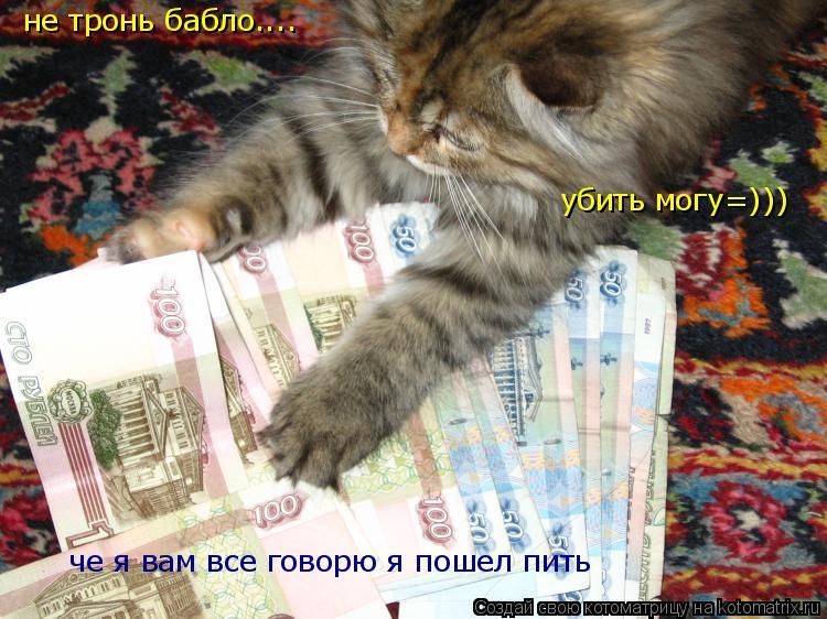 Котоматрица: не тронь бабло.... убить могу=))) че я вам все говорю я пошел пить