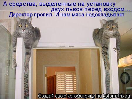 Котоматрица: А средства, выделенные на установку   двух львов перед входом....   Директор пропил. И нам мяса недокладывает