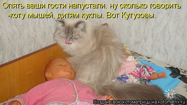 Котоматрица: Опять ваши гости напустали. ну сколько говорить -коту мышей, дитям куклы. Вот Кутузовы.