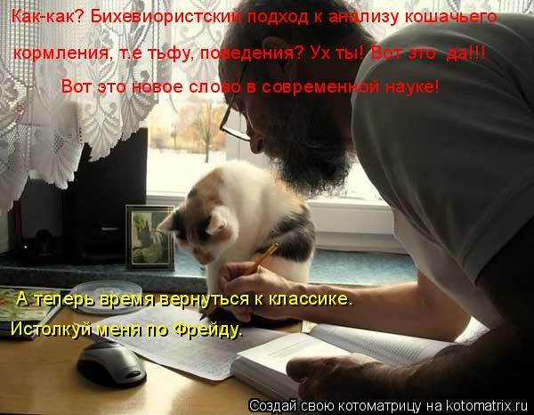 Котоматрица: Как-как? Бихевиористский подход к анализу кошачьего кормления, т.е тьфу, поведения? Ух ты! Вот это  да!!! Вот это новое слово в современной нау