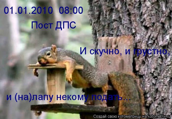Котоматрица: 01.01.2010  08:00 Пост ДПС И скучно, и грустно, и (на)лапу некому подать...