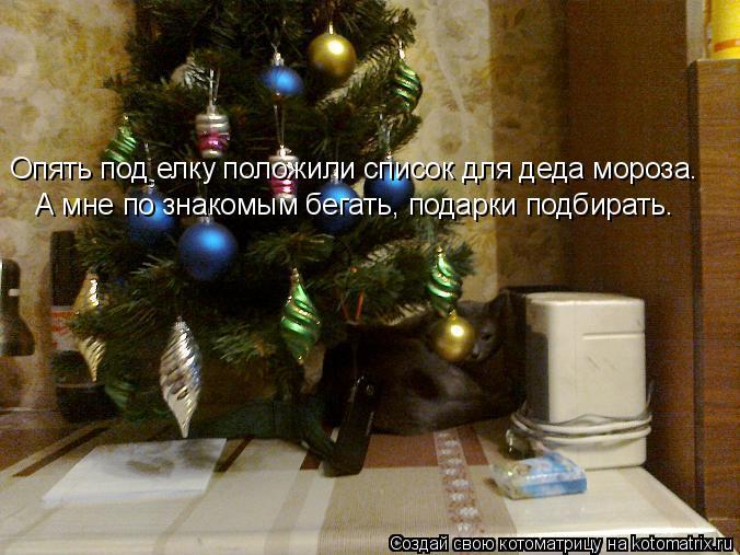 Котоматрица: Опять под елку положили список для деда мороза. А мне по знакомым бегать, подарки подбирать.