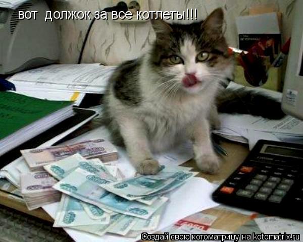 Котоматрица: вот  должок за все котлеты!!!