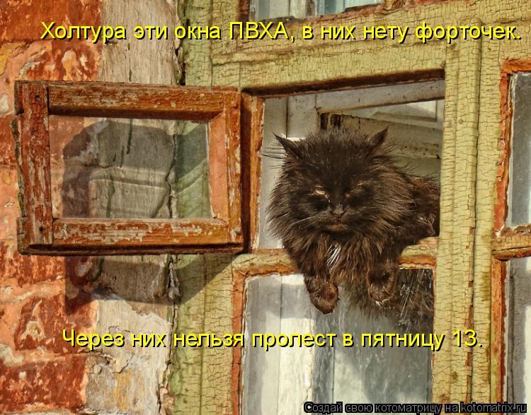 Котоматрица: Холтура эти окна ПВХА, в них нету форточек. Через них нельзя пролест в пятницу 13.