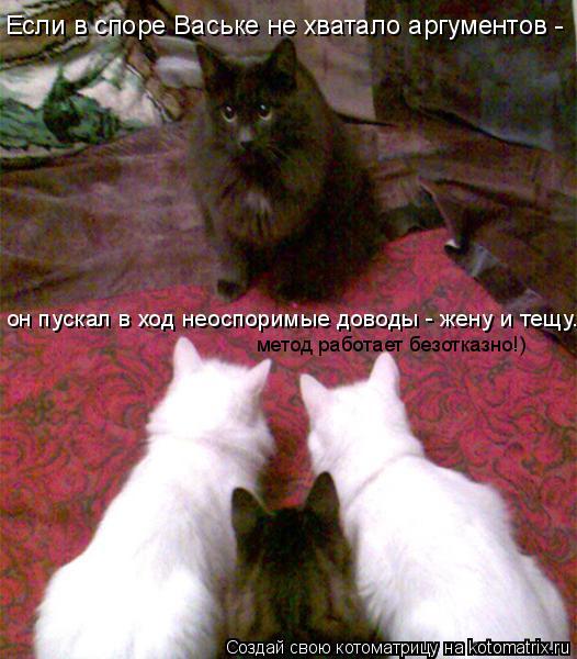 Котоматрица: Если в споре Ваське не хватало аргументов - он пускал в ход неоспоримые доводы - жену и тещу... метод работает безотказно!)