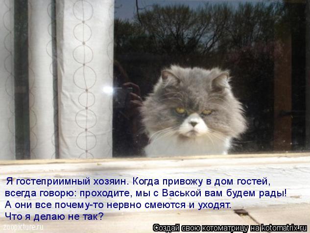 Котоматрица: Я гостеприимный хозяин. Когда привожу в дом гостей,  всегда говорю: проходите, мы с Васькой вам будем рады!  А они все почему-то нервно смеютс