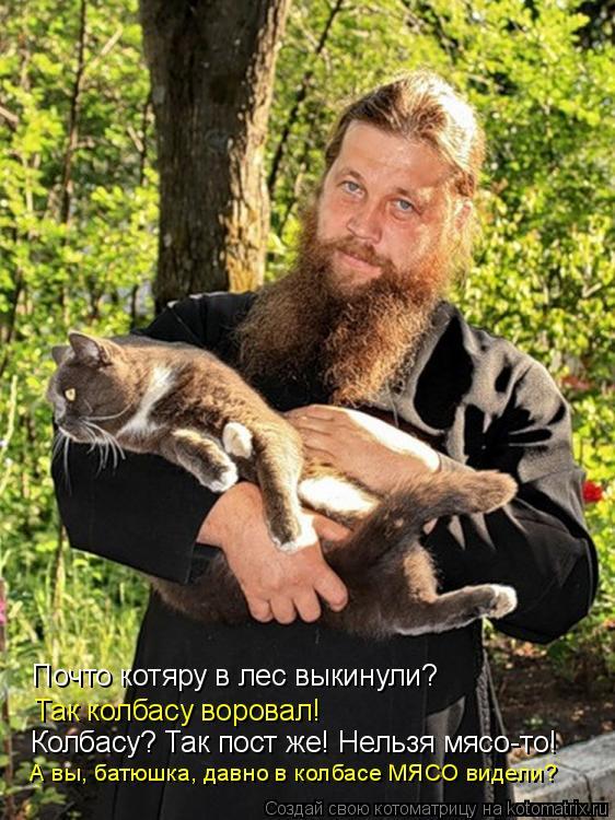 Котоматрица: Почто котяру в лес выкинули? Так колбасу воровал! Колбасу? Так пост же! Нельзя мясо-то! А вы, батюшка, давно в колбасе МЯСО видели?