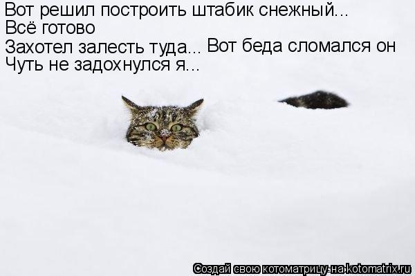 Котоматрица: Вот решил построить штабик снежный... Всё готово Захотел залесть туда... Вот беда сломался он Чуть не задохнулся я...
