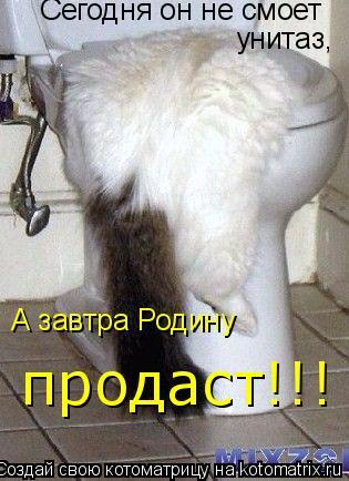 Котоматрица: Сегодня он не смоет унитаз, А завтра Родину продаст!!!