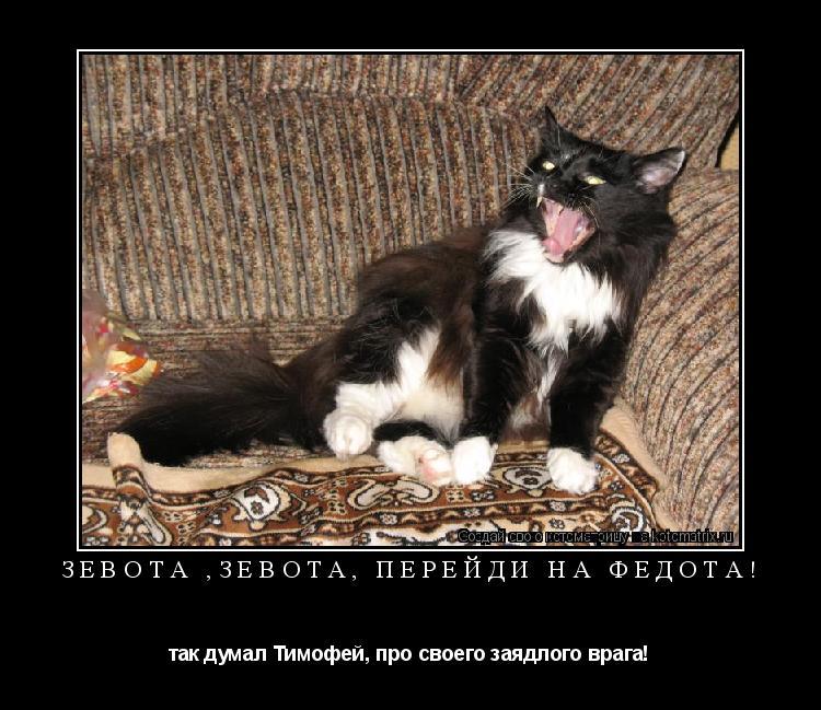 Котоматрица: ЗЕВОТА ,ЗЕВОТА, перейди на Федота! так думал Тимофей, про своего заядлого врага!