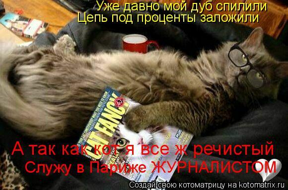 Котоматрица: Уже давно мой дуб спилили Цепь под проценты заложили А так как кот я все ж речистый Служу в Париже ЖУРНАЛИСТОМ
