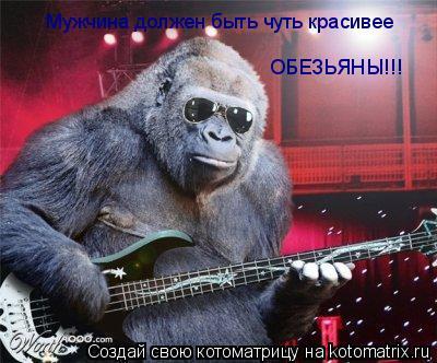 Котоматрица: Мужчина должен быть чуть красивее обезьяны Мужчина должен быть чуть красивее  Мужчина должен быть чуть красивее  ОБЕЗЬЯНЫ!!! ОБЕЗЬЯНЫ!!!