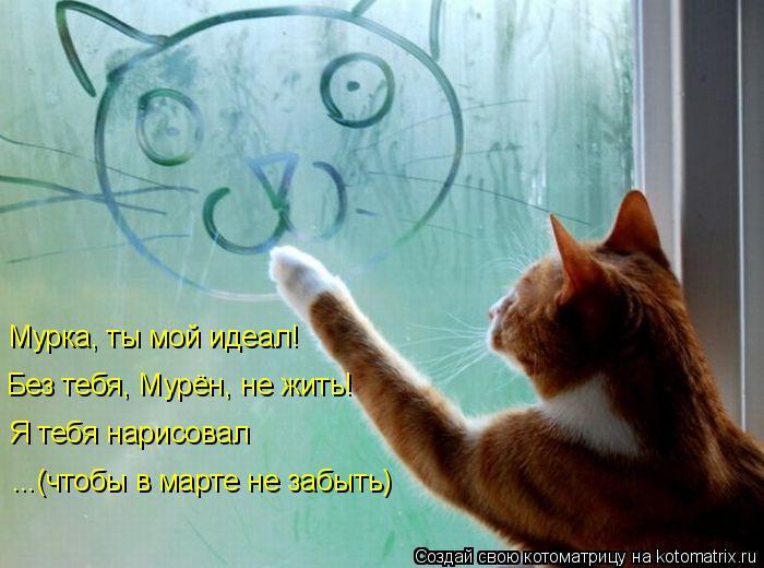 Котоматрица: Мурка, ты мой идеал! Я тебя нарисовал Без тебя, Мурён, не жить! ...(чтобы в марте не забыть)