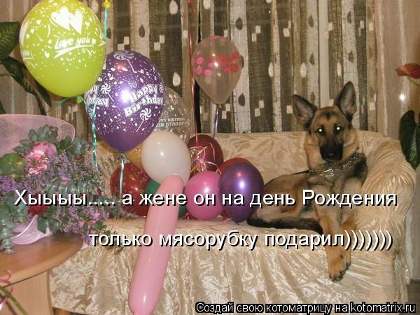 Котоматрица: Хыыыы..... а жене он на день Рождения только мясорубку подарил)))))))