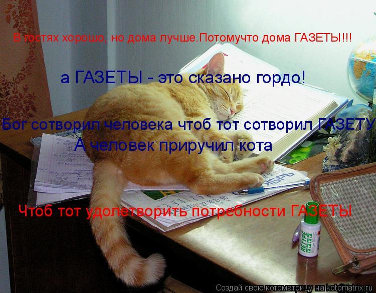Котоматрица: а ГАЗЕТЫ - это сказано гордо! Бог сотворил человека чтоб тот сотворил ГАЗЕТУ! А человек приручил кота В гостях хорошо, но дома лучше.Потомучт