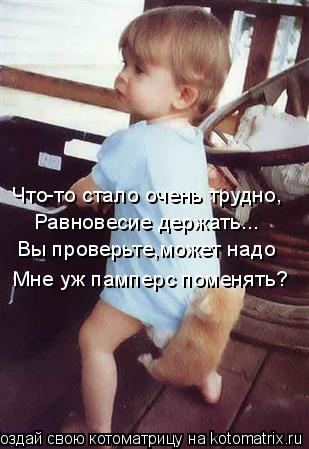 Котоматрица: Что-то стало очень трудно, Равновесие держать... Вы проверьте,может надо Мне уж памперс поменять?