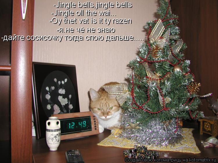 Котоматрица: -Jingle bells,jingle bells -Jingle oll the wai... -Oy thet vat is it ty razen -я.не чё не знаю -дайте сосисочку тогда спою дальше.....
