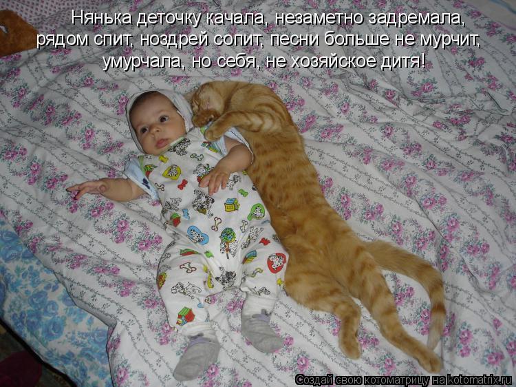Котоматрица: Нянька деточку качала, незаметно задремала, рядом спит, ноздрей сопит, песни больше не мурчит, умурчала, но себя, не хозяйское дитя!