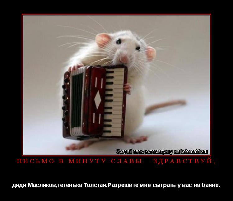 Котоматрица: письмо в минуту славы.  здравствуй, дядя Масляков,тетенька Толстая.Разрешите мне сыграть у вас на баяне.