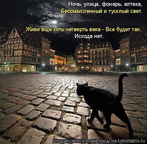 Котоматрица: Ночь, улица, фонарь, аптека,   Бессмысленный и тусклый свет.   Живи еще хоть четверть века - Все будет так.   Исхода нет.