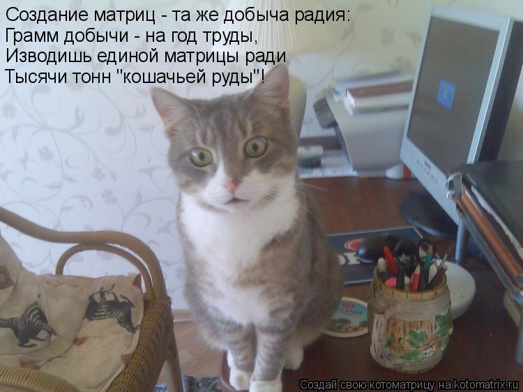 """Котоматрица: Создание матриц - та же добыча радия: Грамм добычи - на год труды, Изводишь единой матрицы ради Тысячи тонн """"кошачьей руды""""!"""