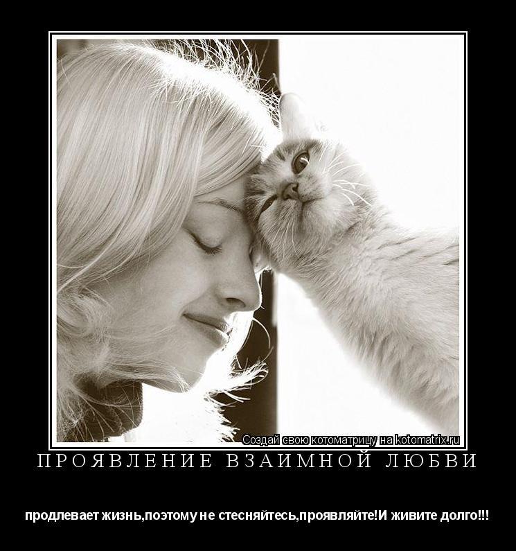 Котоматрица: проявление взаимной любви продлевает жизнь,поэтому не стесняйтесь,проявляйте!И живите долго!!!