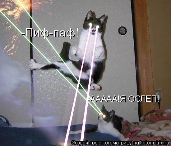 Котоматрица: -ААААА!Я ОСЛЕП! -Пиф-паф!