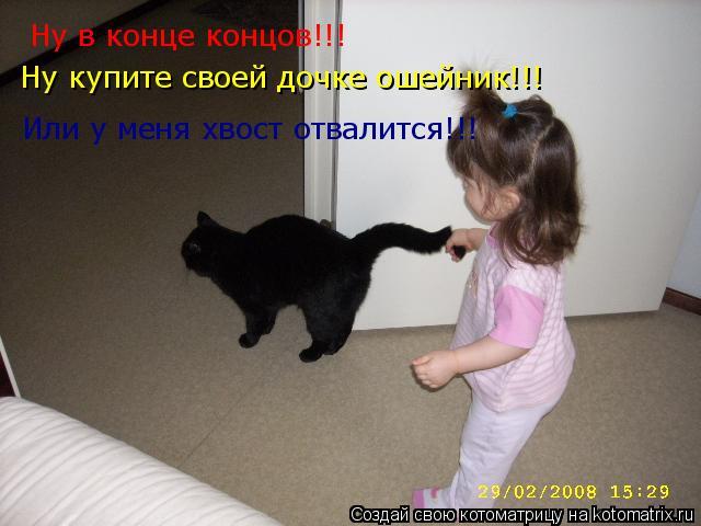 Котоматрица: Ну в конце концов!!! Ну купите своей дочке ошейник!!! Или у меня хвост отвалится!!!