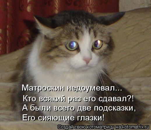 Котоматрица: Кто всякий раз его сдавал?! Матроскин недоумевал... А были всего две подсказки, Его сияющие глазки!