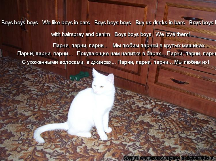 Котоматрица: Boys boys boys   We like boys in cars   Boys boys boys   Buy us drinks in bars   Boys boys boys ...    with hairspray and denim   Boys boys boys   We