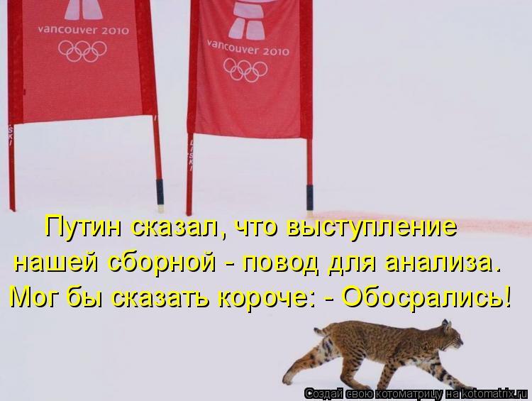 Котоматрица: Путин сказал, что выступление нашей сборной - повод для анализа. Мог бы сказать короче: - Обосрались!