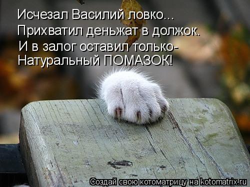 Котоматрица: Исчезал Василий ловко... Прихватил деньжат в должок. И в залог оставил только- Натуральный ПОМАЗОК!