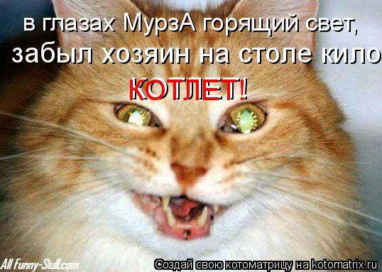 Котоматрица: в глазах МурзА горящий свет, забыл хозяин на столе кило КОТЛЕТ! КОТЛЕТ!