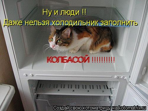 Котоматрица: Ну и люди !!  Даже нельзя холодильник заполнить  КОЛБАСОЙ КОЛБАСОЙ !!!!!!!!!!