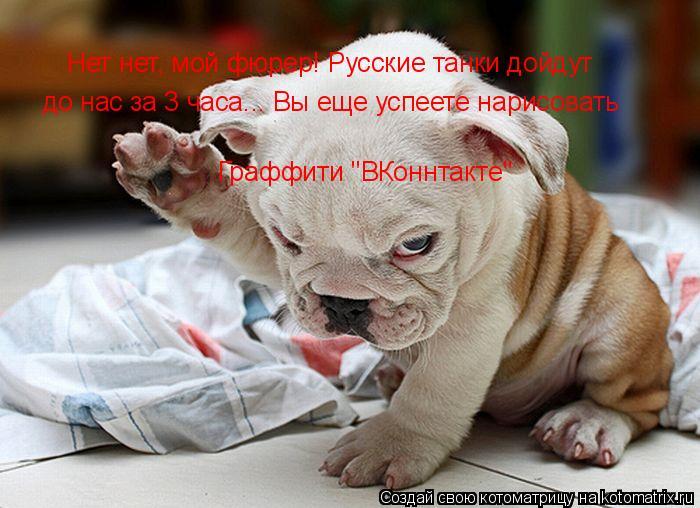 """Котоматрица: Нет нет, мой фюрер! Русские танки дойдут до нас за 3 часа... Вы еще успеете нарисовать  Граффити """"ВКоннтакте"""""""