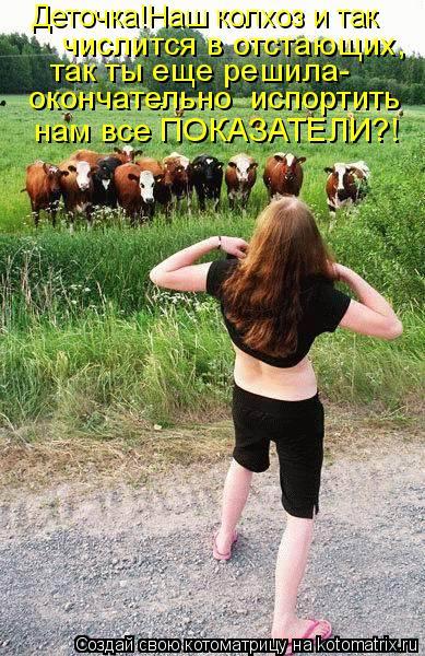 Котоматрица: Деточка!Наш колхоз и так числится в отстающих, так ты еще решила- окончательно  испортить  нам все ПОКАЗАТЕЛИ?!