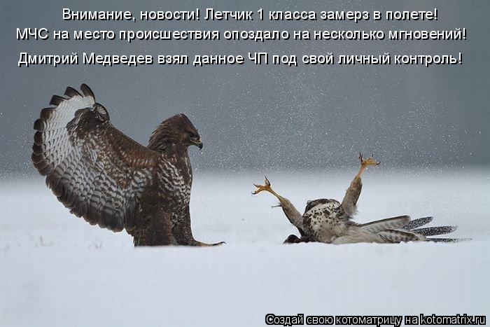 Котоматрица: Внимание, новости! Летчик 1 класса замерз в полете!  МЧС на место происшествия опоздало на несколько мгновений! Дмитрий Медведев взял данное