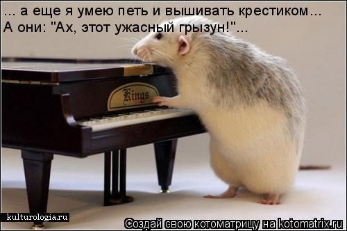 """Котоматрица: ... а еще я умею петь и вышивать крестиком... А они: """"Ах, этот ужасный грызун!""""..."""