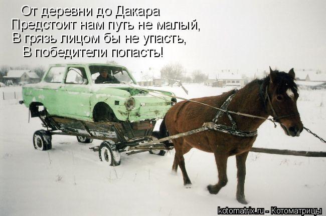 Котоматрица: От деревни до Дакара Предстоит нам путь не малый, В грязь лицом бы не упасть, В победители попасть!