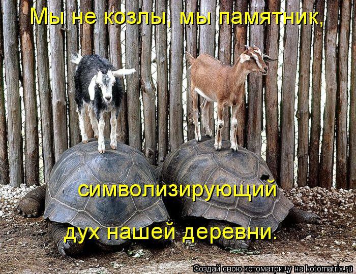Котоматрица: Мы не козлы, мы памятник,  символизирующий дух нашей деревни.