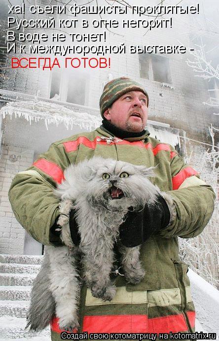 Котоматрица: ха! съели фашисты проклятые!  Русский кот в огне негорит! В воде не тонет! И к междунородной выставке - ВСЕГДА ГОТОВ!
