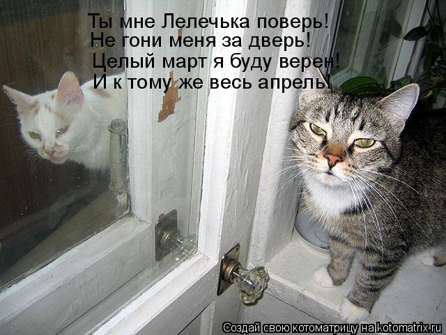 Котоматрица: Ты мне Лелечька поверь! Не гони меня за дверь! Целый март я буду верен! И к тому же весь апрель!