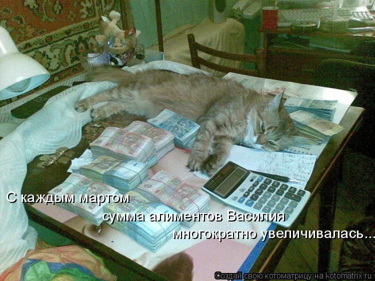 Котоматрица: С каждым мартом  сумма алиментов Василия многократно увеличивалась.....