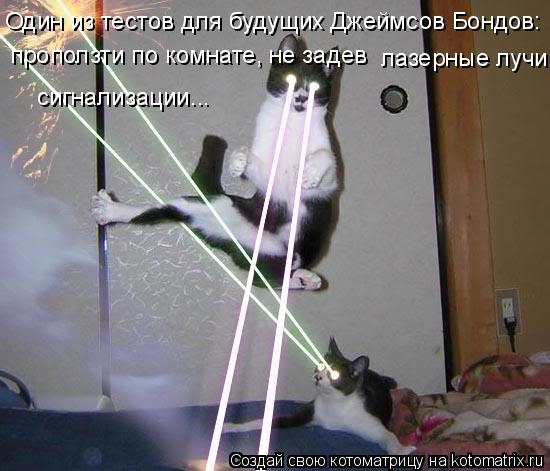 Котоматрица: Один из тестов для будущих Джеймсов Бондов: проползти по комнате, не задев  лазерные лучи  сигнализации...