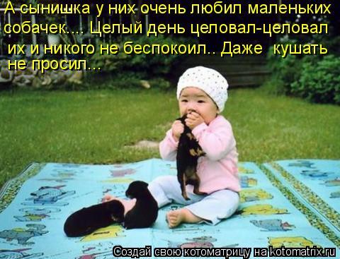 Котоматрица: А сынишка у них очень любил маленьких  собачек…... Целый день целовал-целовал  их и никого не беспокоил…. Даже  кушать  не просил…..